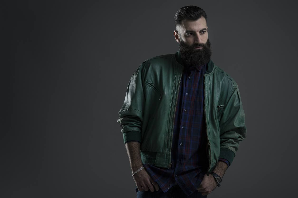 slicked back hair: style with beard