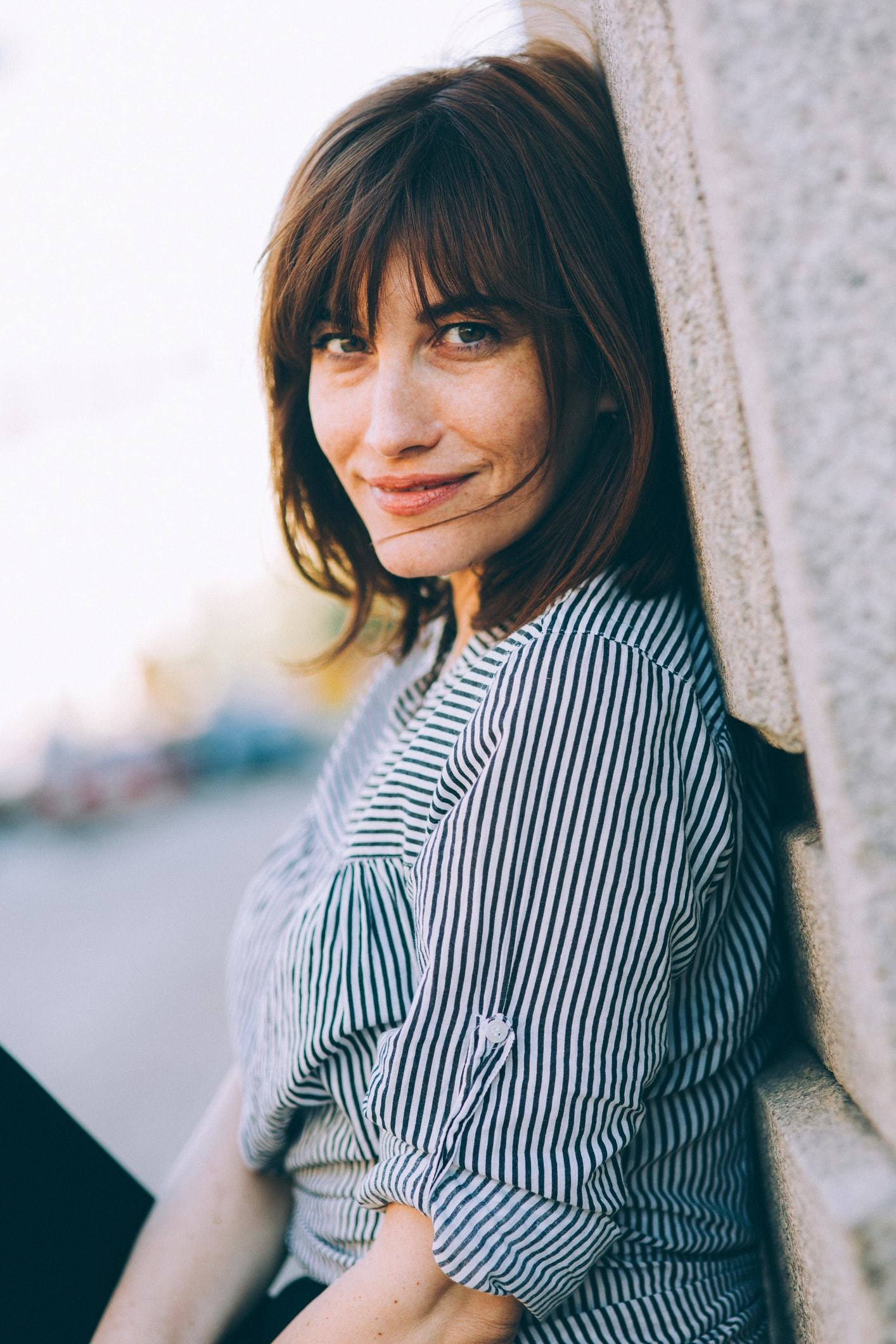 straight hair with bangs brunette lob