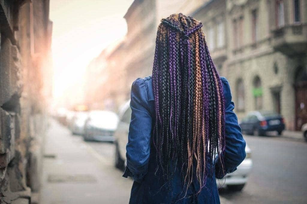 box braids on natural hair multi-colored