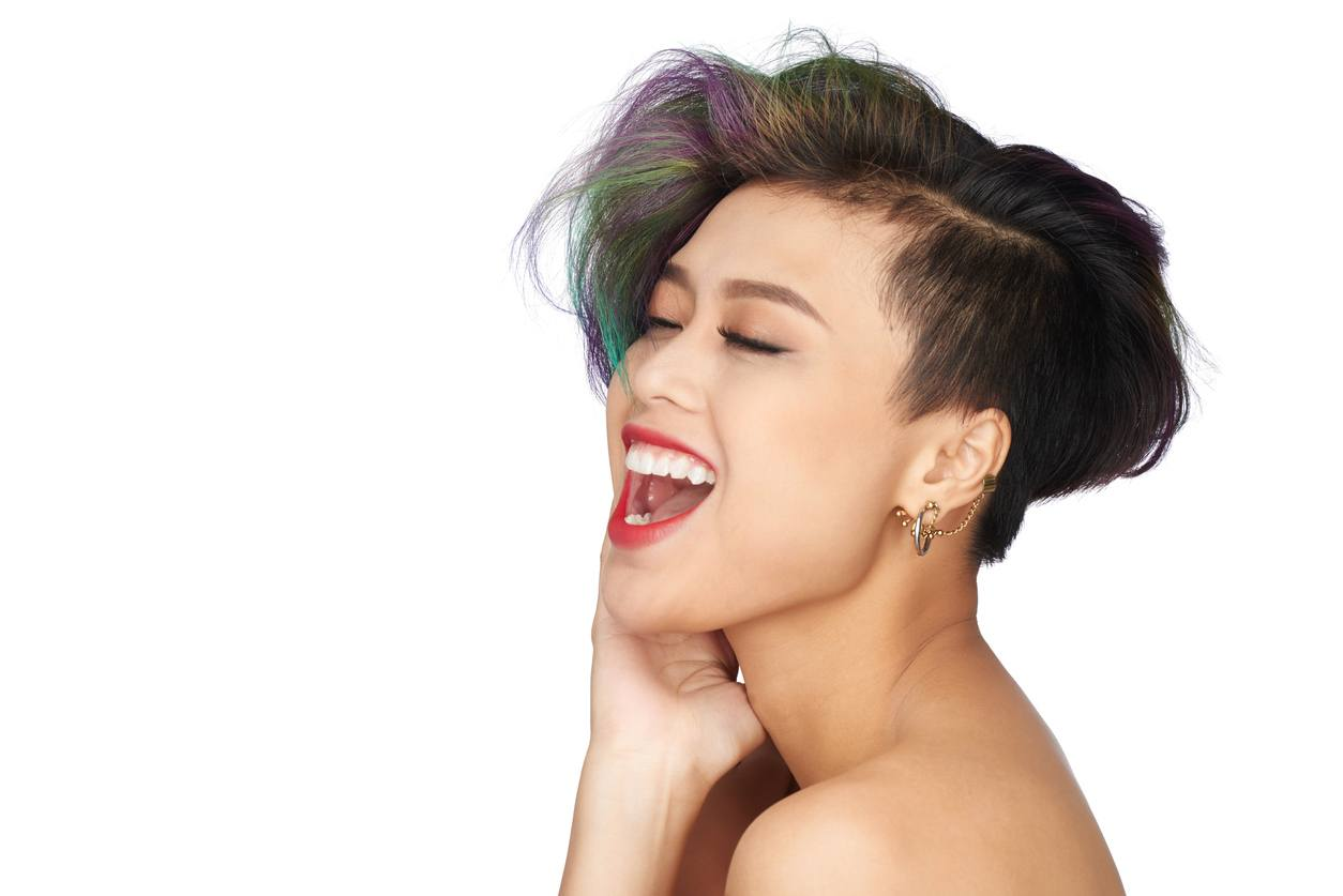 chinese hairstyles dyed crop