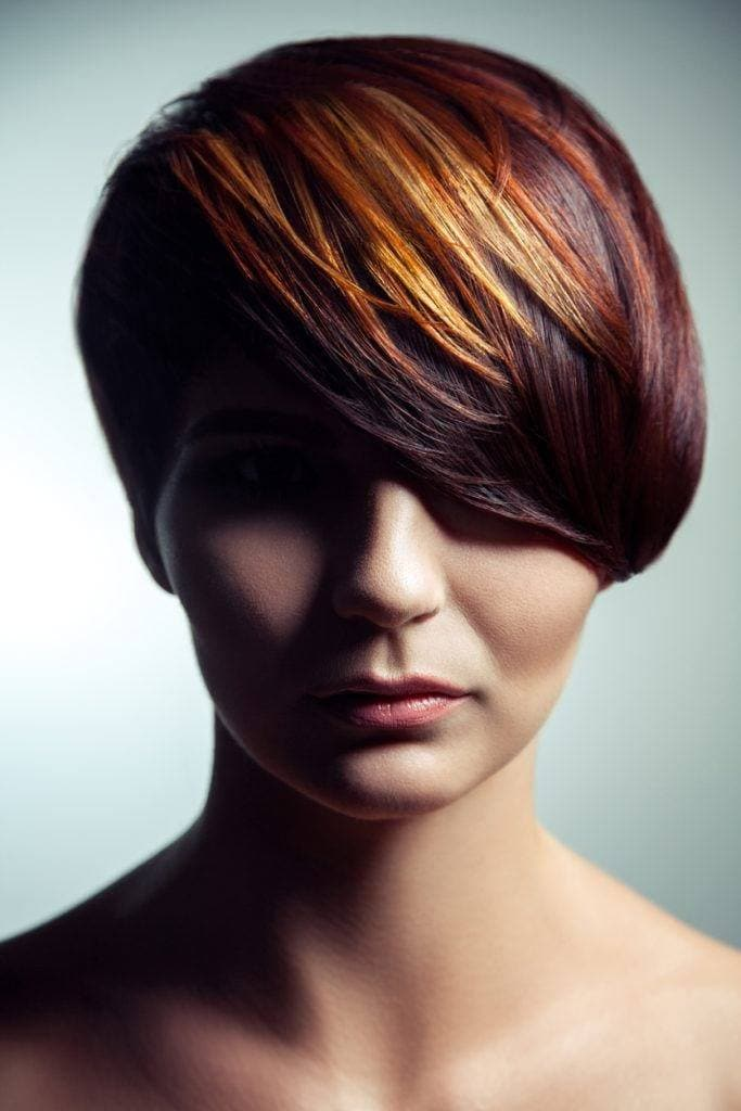 hair color ideas for short hair: red and blonde