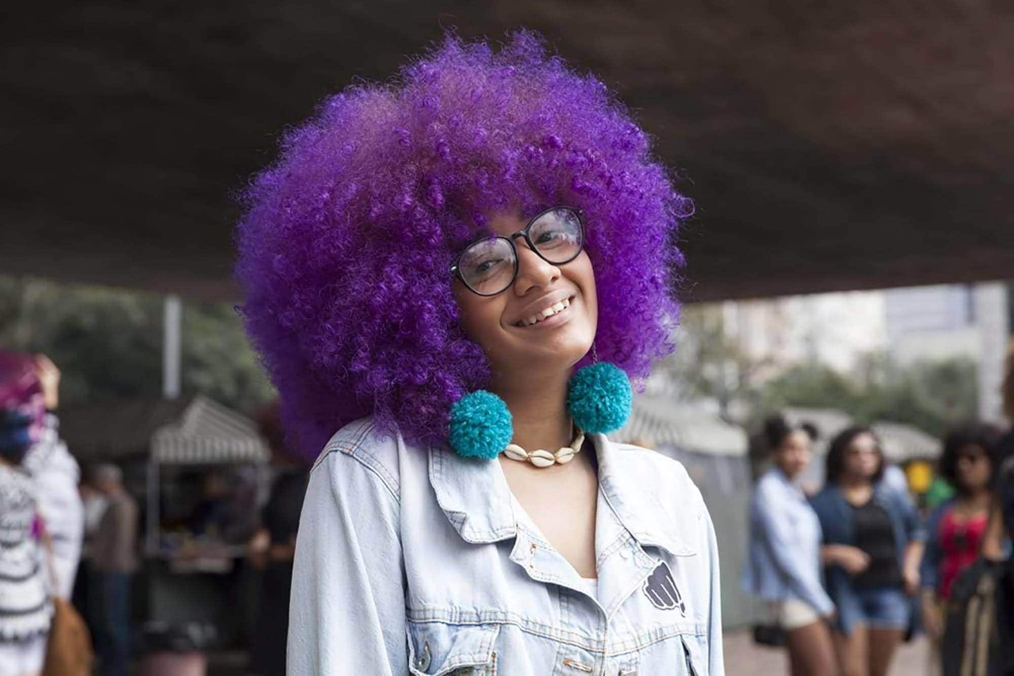 hippie hairstyles creative color afro
