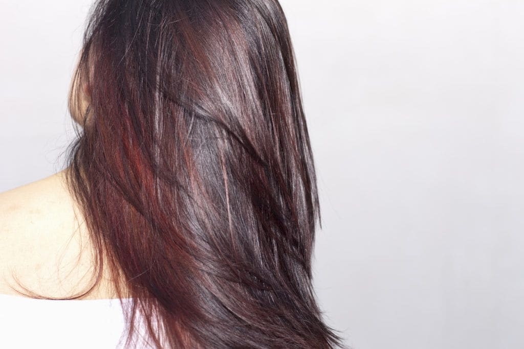long hair with highlights red wine