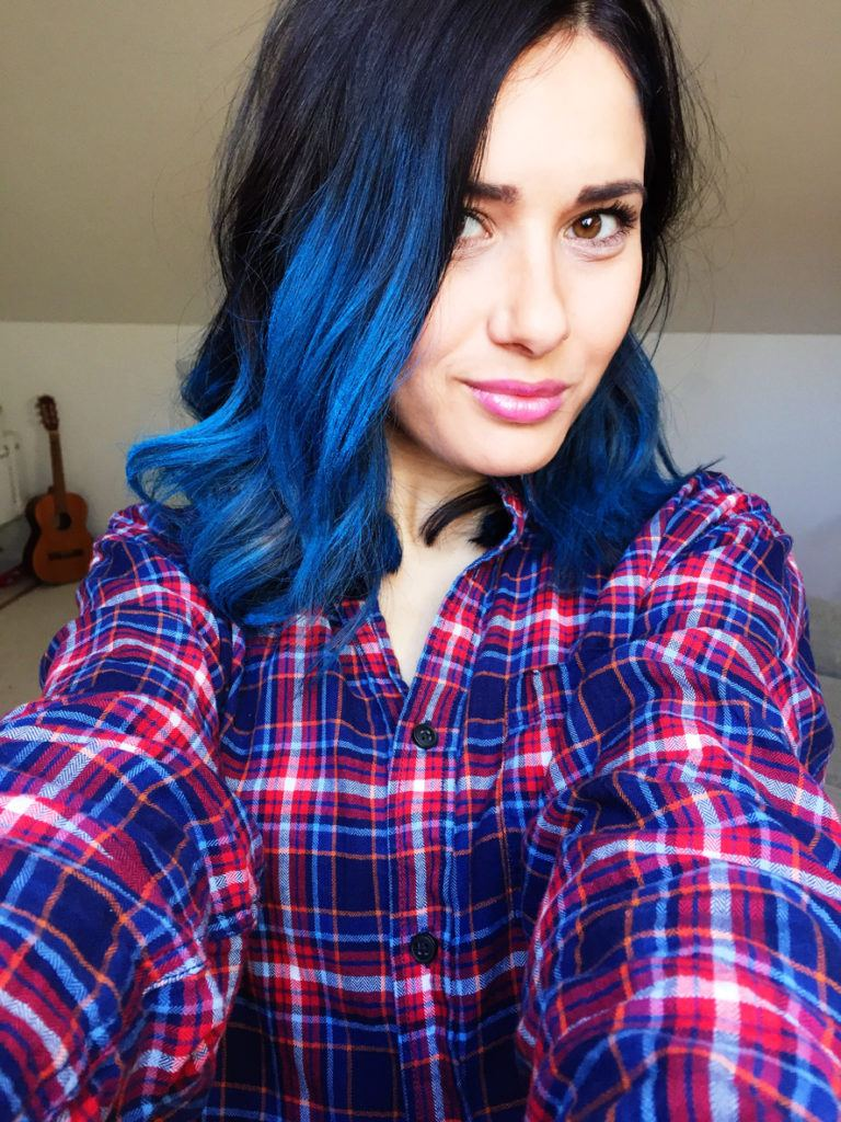 black hair with blue tips turquoise