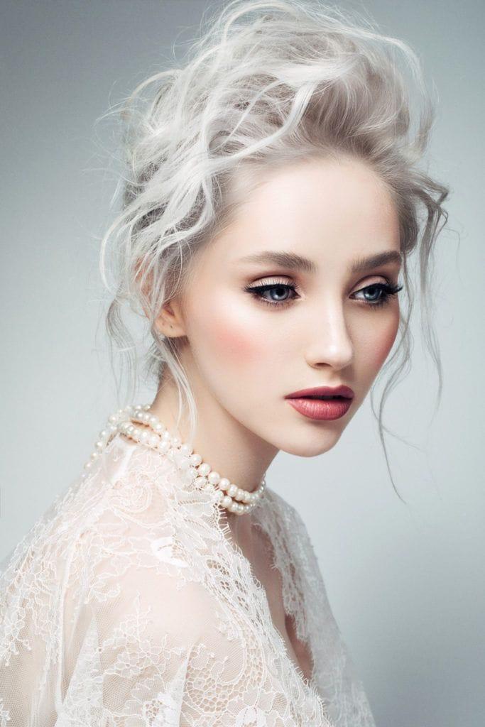 short blonde hair textured updo