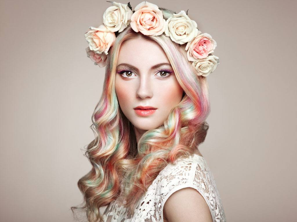 long hair with highlights pastel