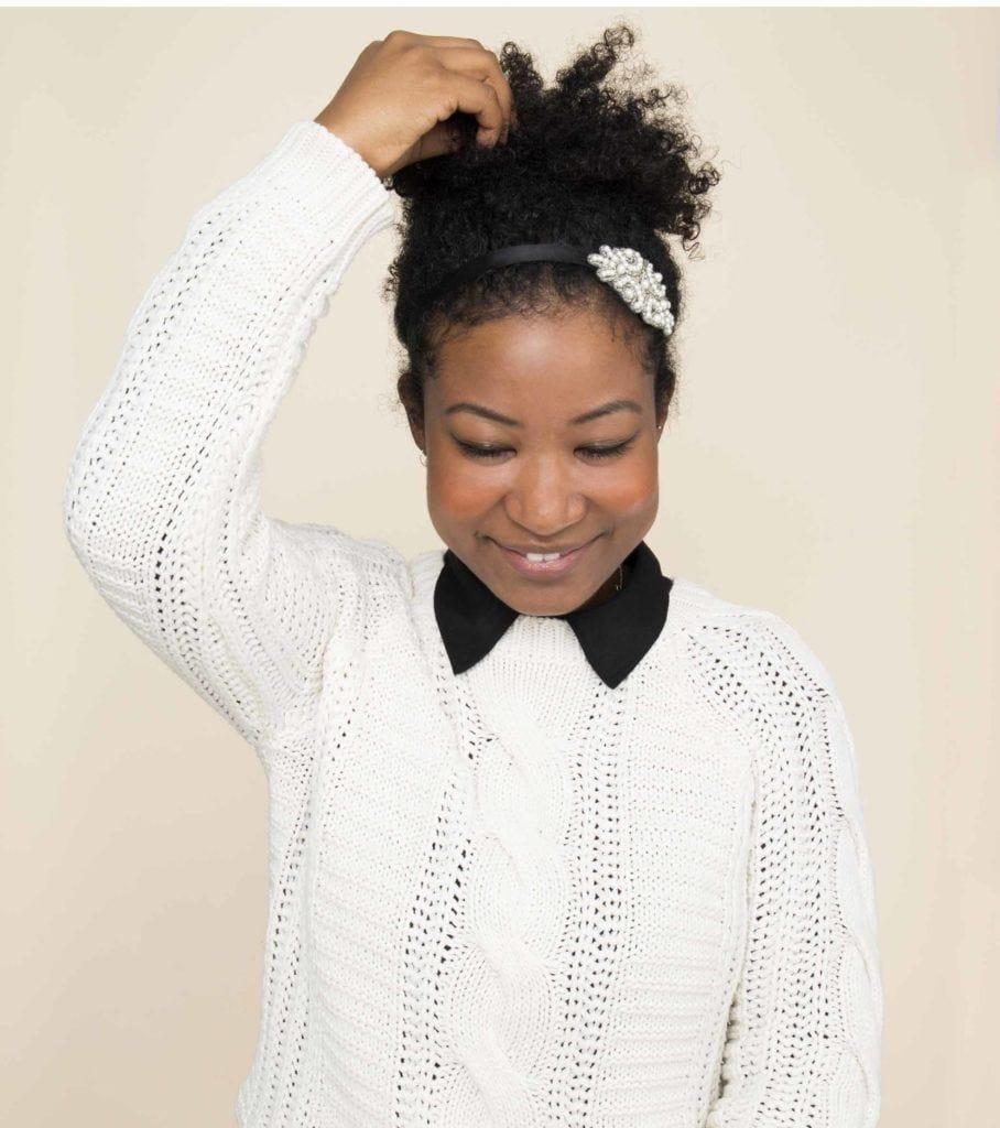 natural hair updos: ponytail and headband