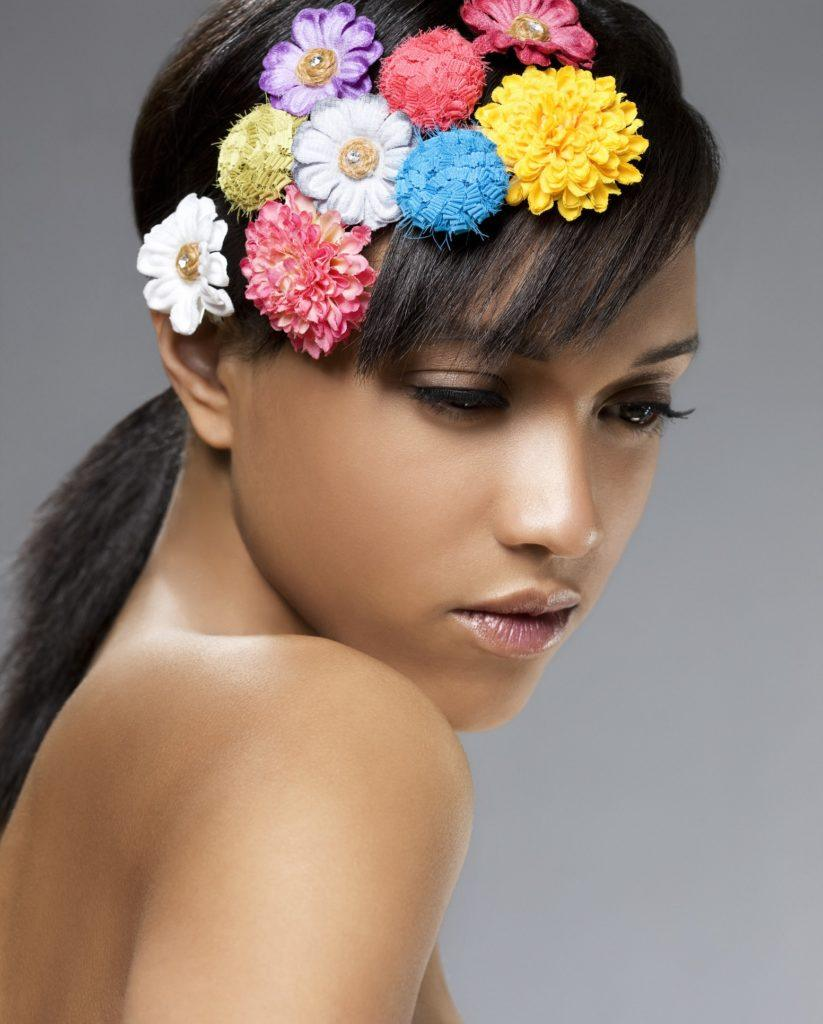 ponytail with bangs flowers low pony side bangs