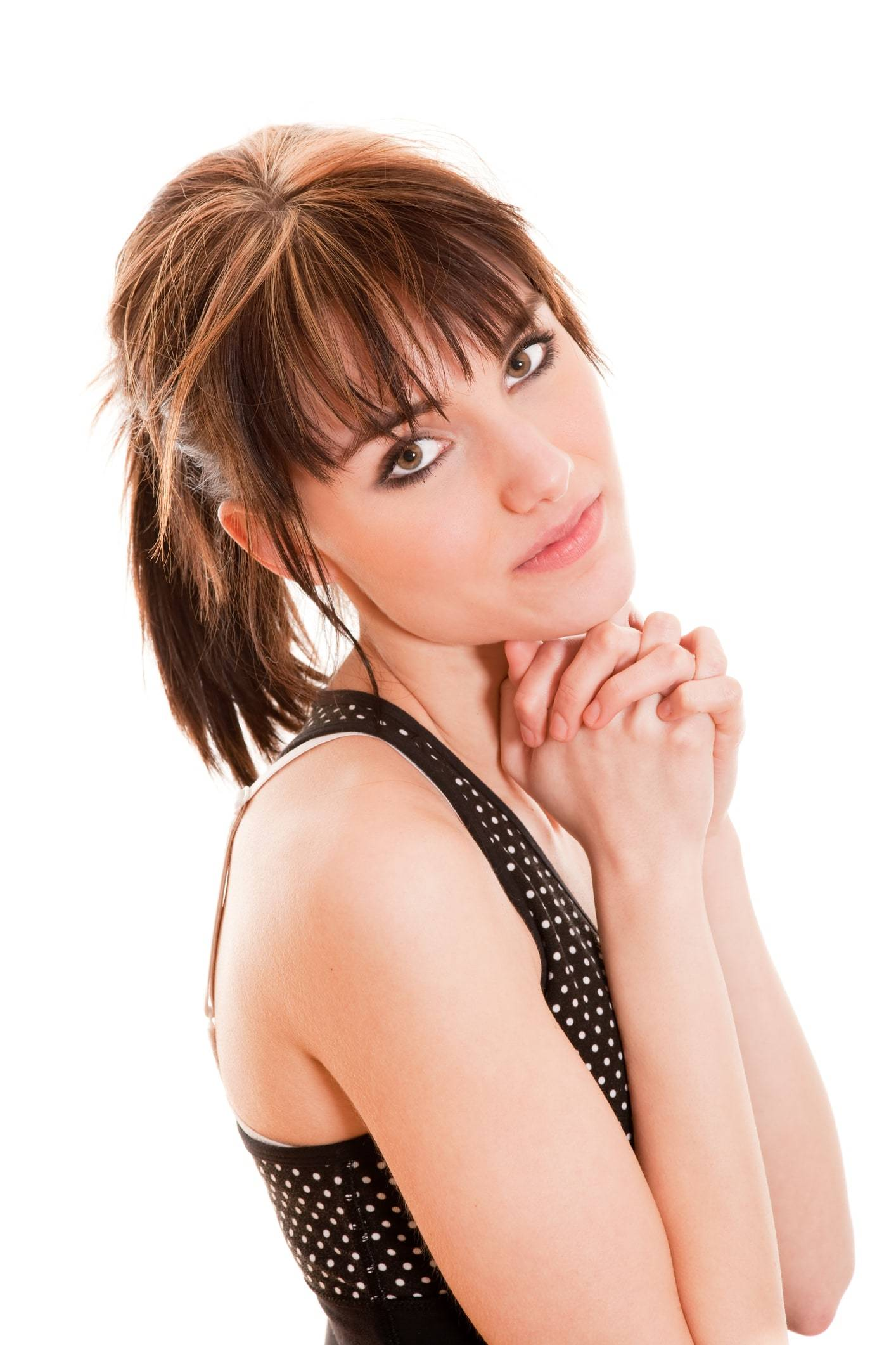 ponytail with bangs of a cute woman on a white background