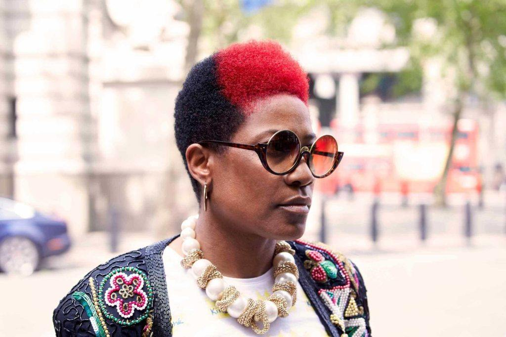 two tone hair: black and red afro