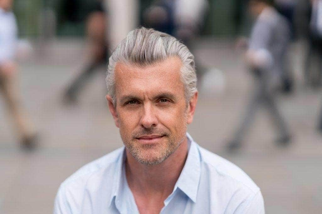 mens grey hairstyles brushed back