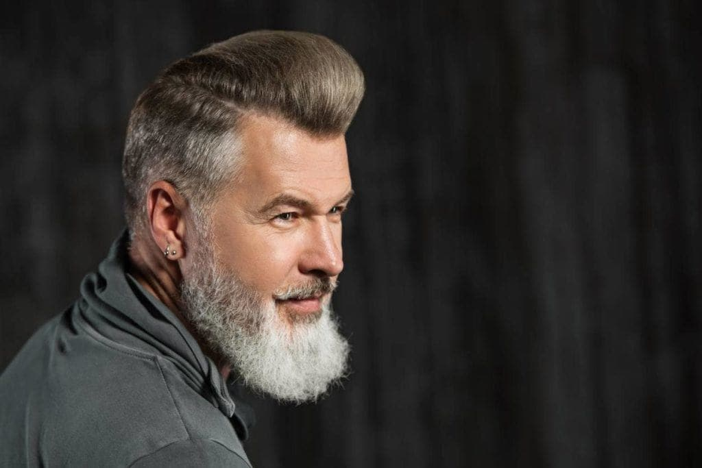 mens grey hairstyles pompadour