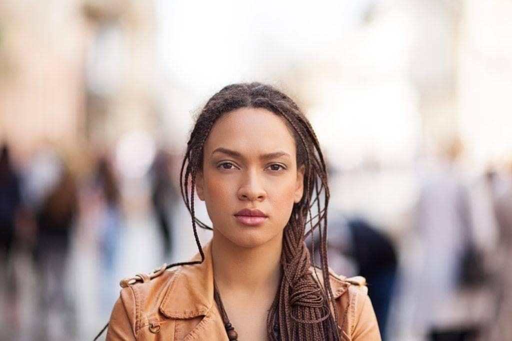 micro braid hairstyles: loose ponytail