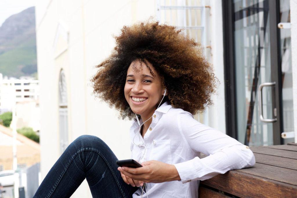 Ombré natural hair: bronze