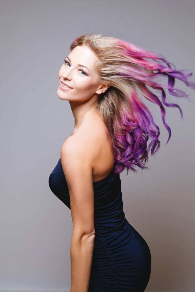 purple ombre hair dip dye ombre