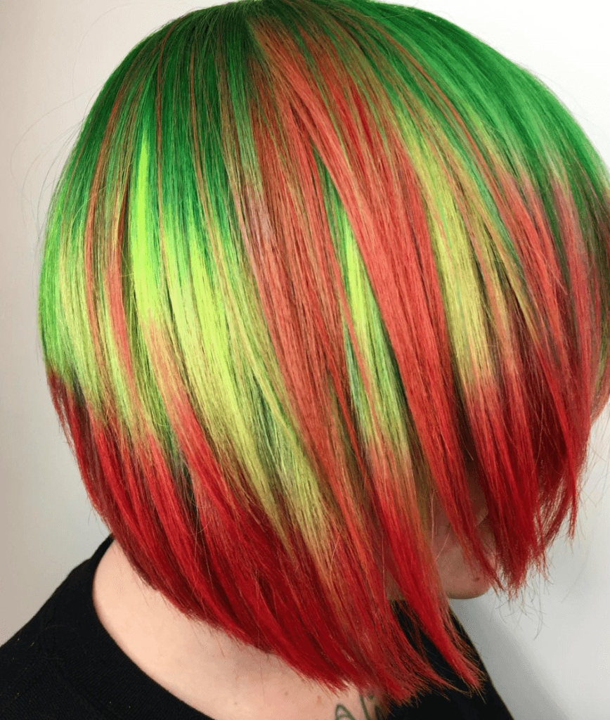 watermelon hair edgy bob
