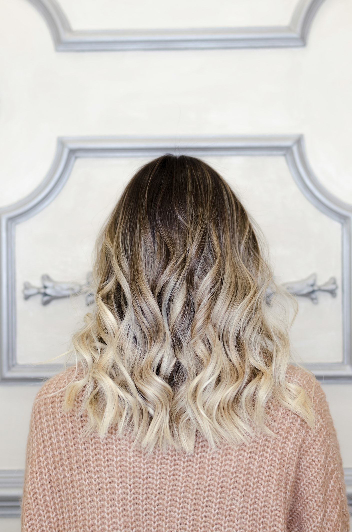 black ombre hair icy blonde curls