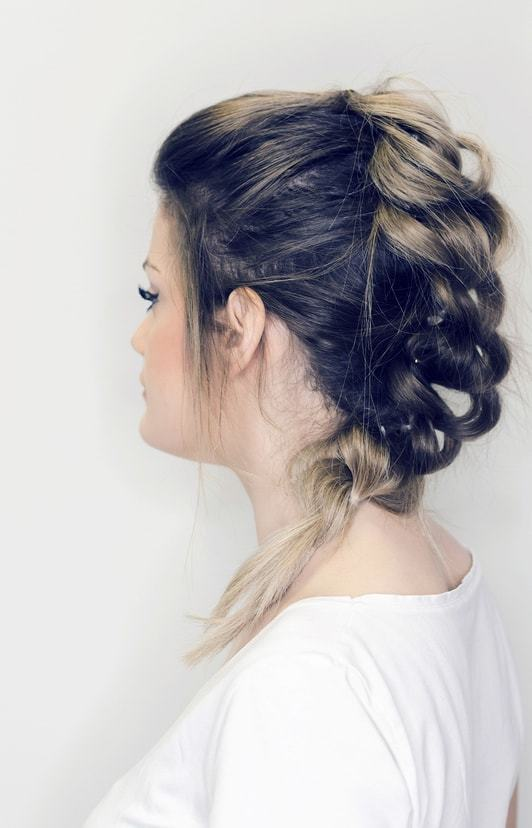 black ombre hair pulled apart braid