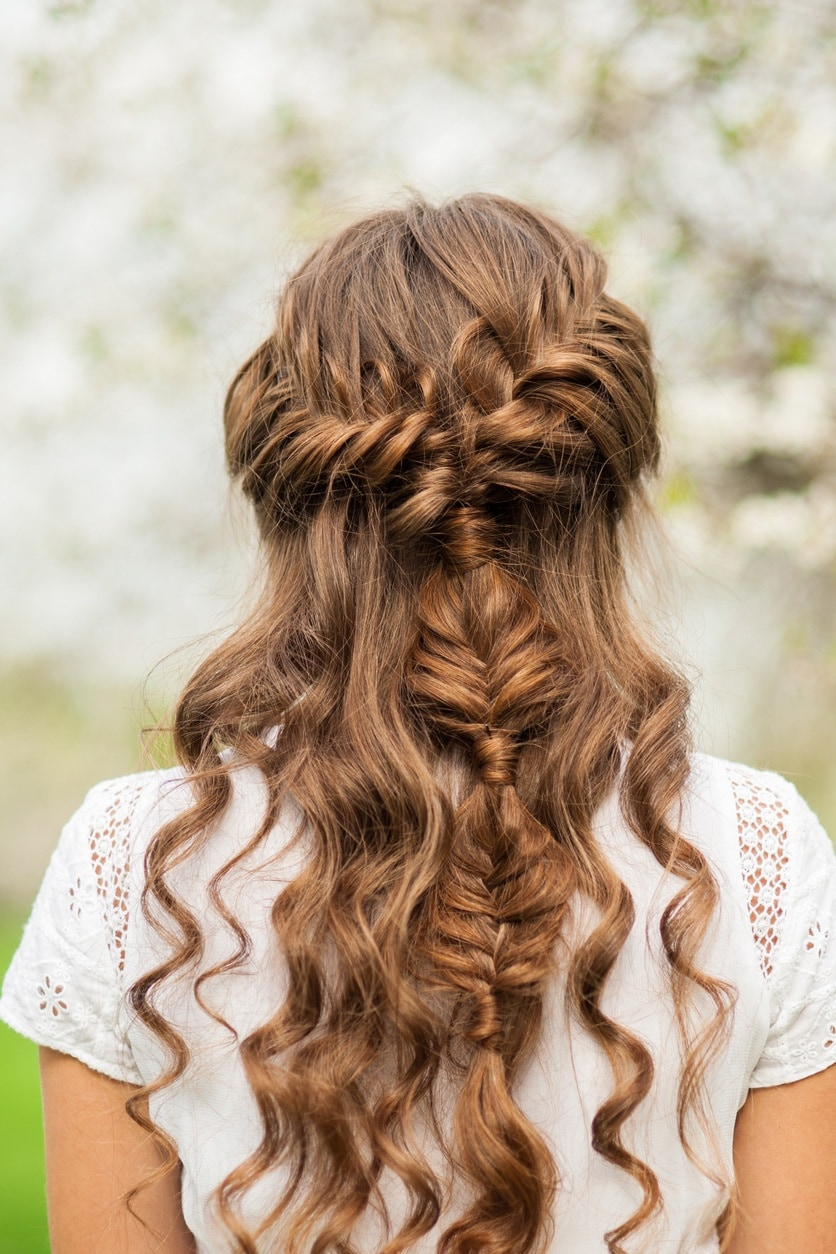 curly hair hairstyles braided half up