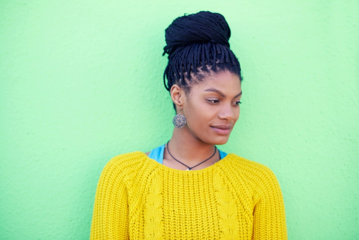 box braids top knot bun