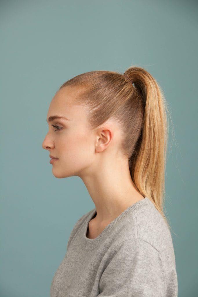 styling fine hair: high pony