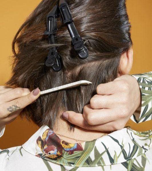 flat iron hair section hair off