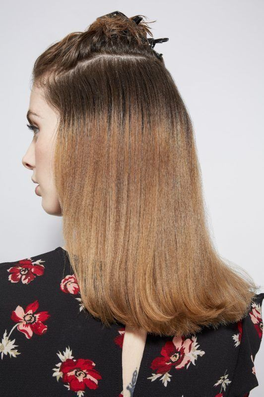 how to blow dry hair straight section repeat
