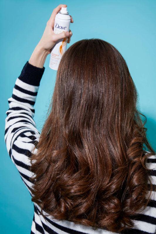 Headband curls spray to secure