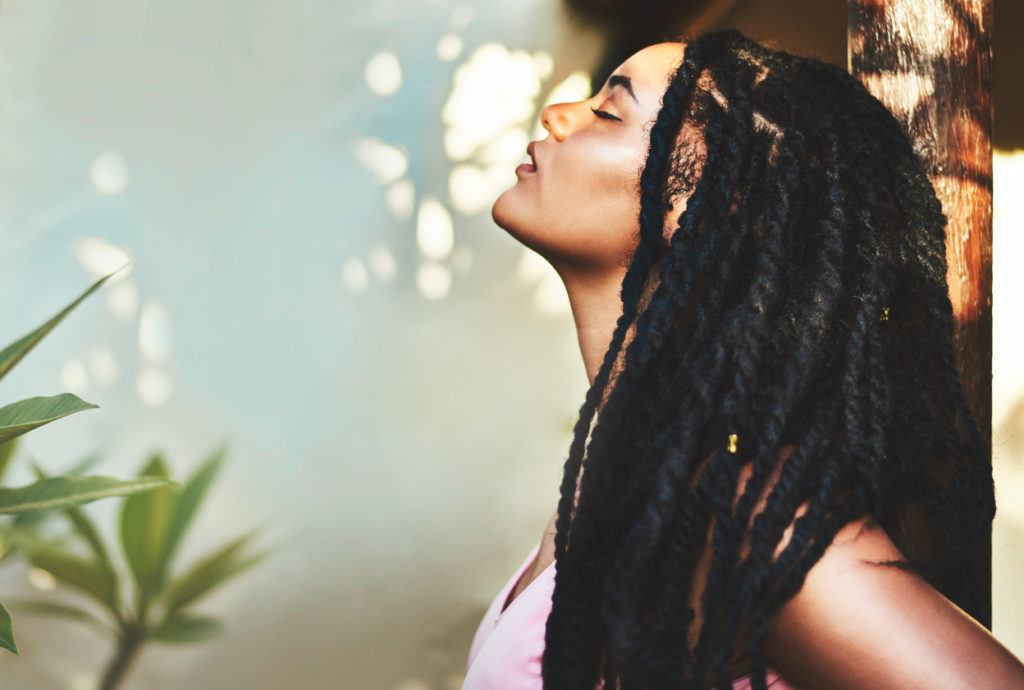 box braids with shaved sides: subtle shave