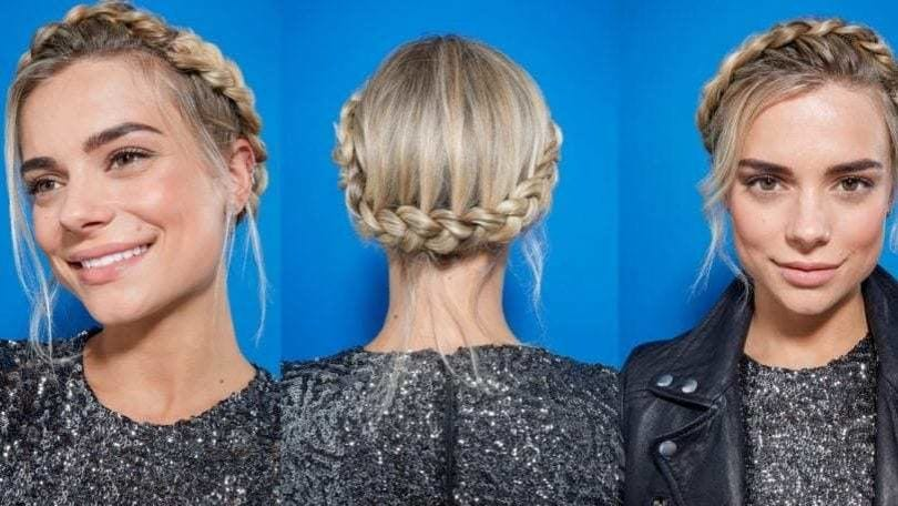 three images of a woman with blonde hair tied into a crown braid updo