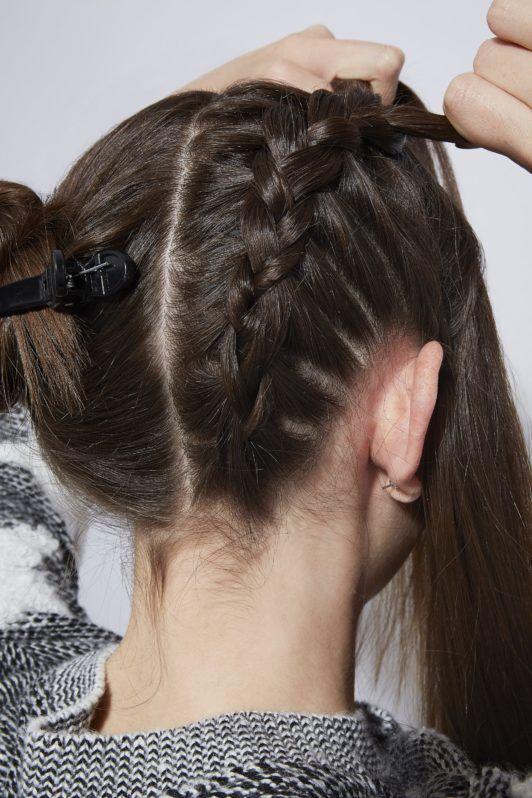 double braid bun continue braiding