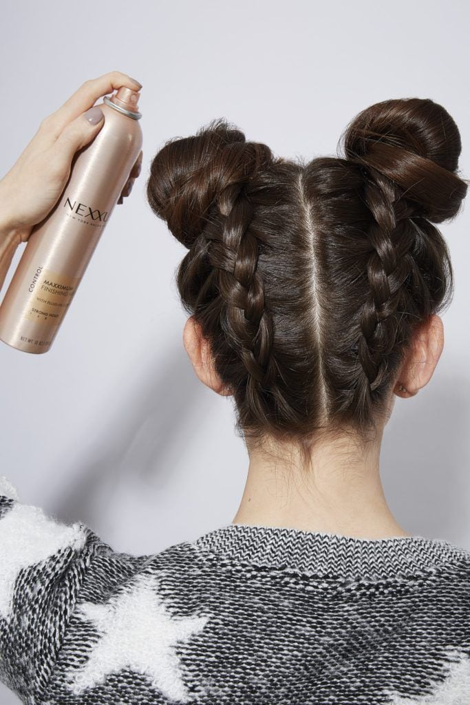 double braid bun hairspray
