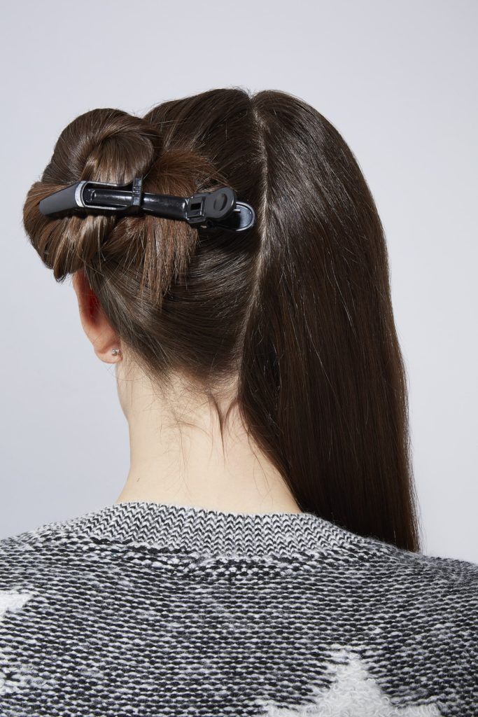 double braid bun section hair