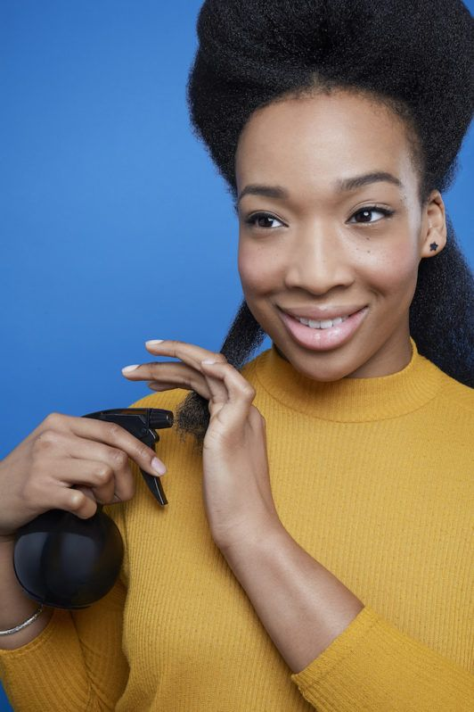 flexi rods on natural hair: apply water