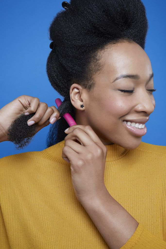 flexi rods on natural hair: wrap hair