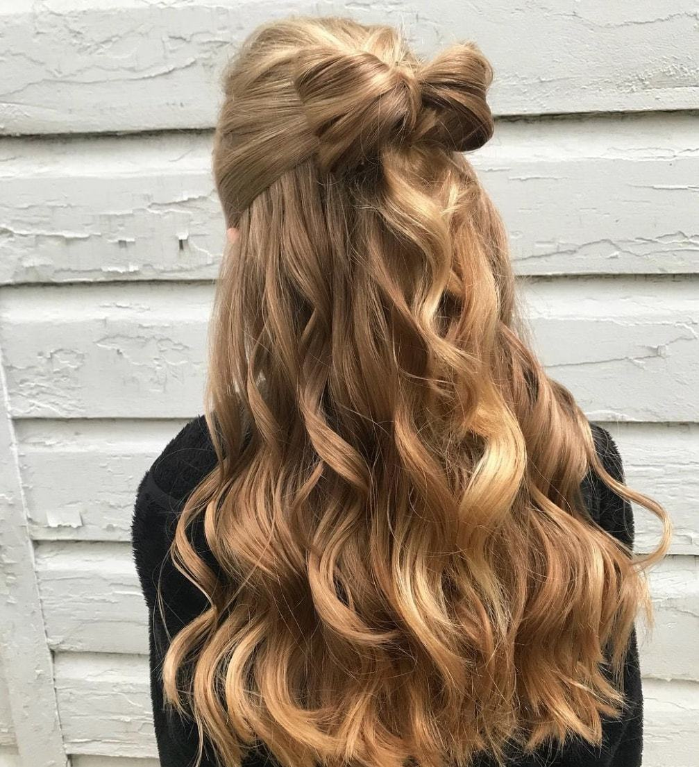 fall wedding hairstyles blonde bow