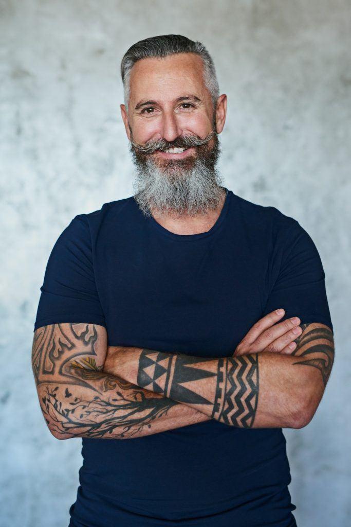 high and tight haircut salt and pepper beard