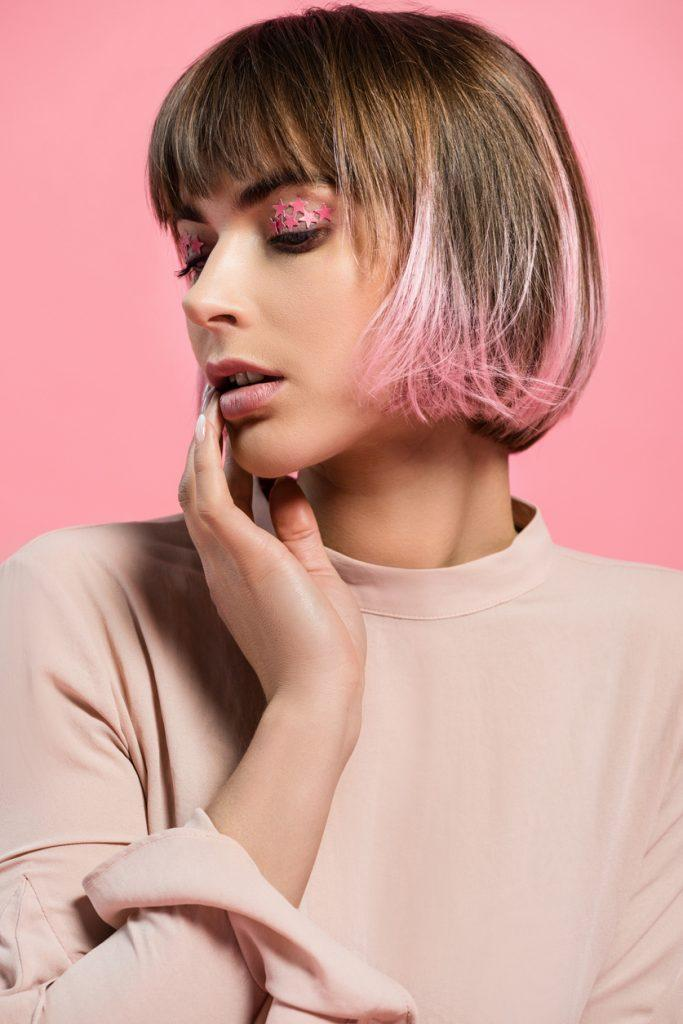 pink ombre hair painted pink