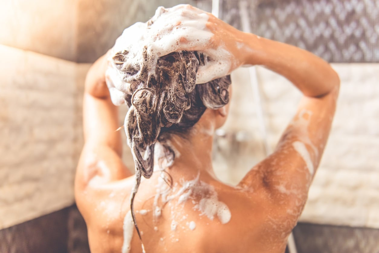 cold weather hair care showering woman