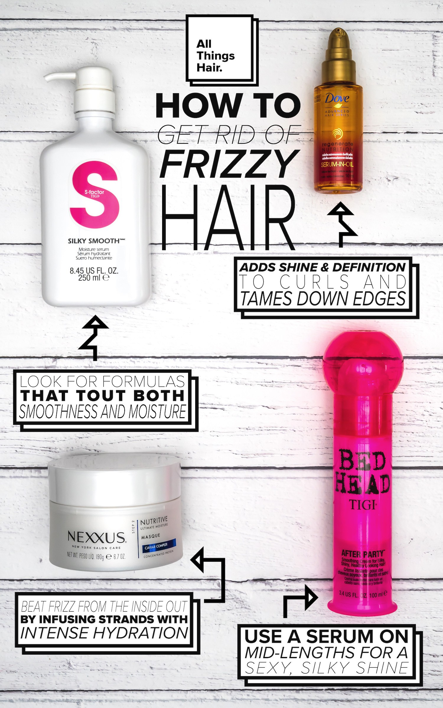 get rid of frizz flat lay