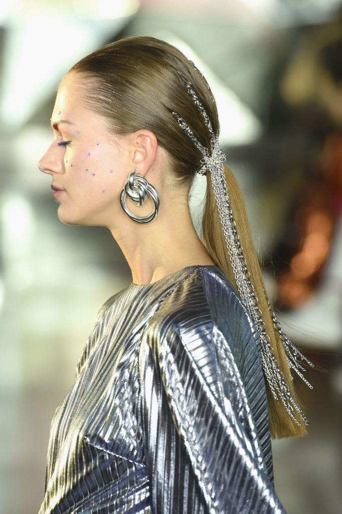 chained locks at christian siriano fw 019 side ponytail