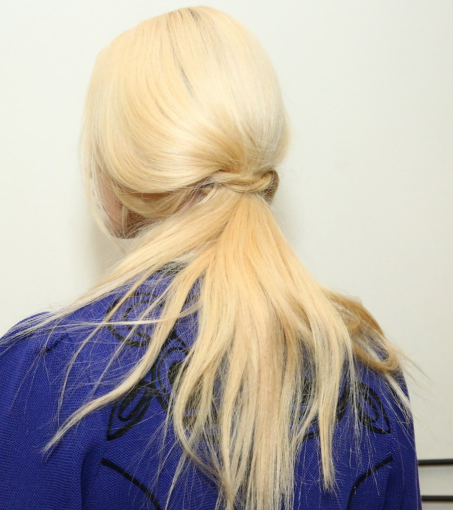 tousled low ponytail: final look