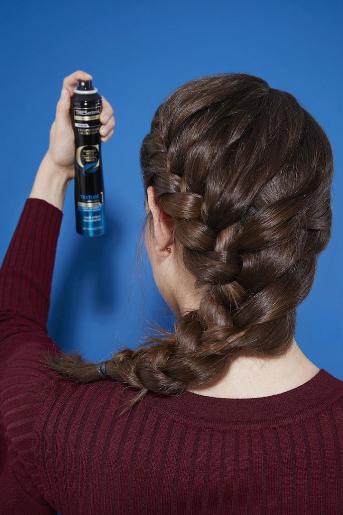 how to do a side french braid: set with hairspray