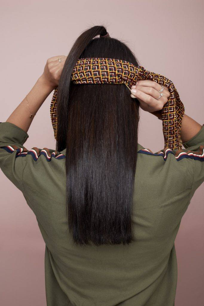 bandana hairstyles brunette half up