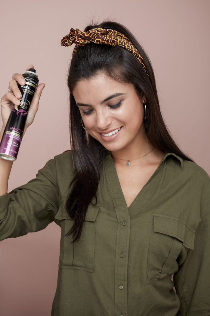 bandana hairstyles brunette half up spray