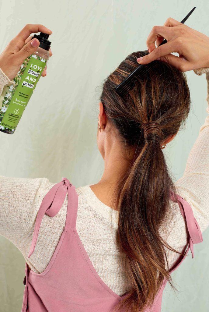 swept back ponytail hairspray