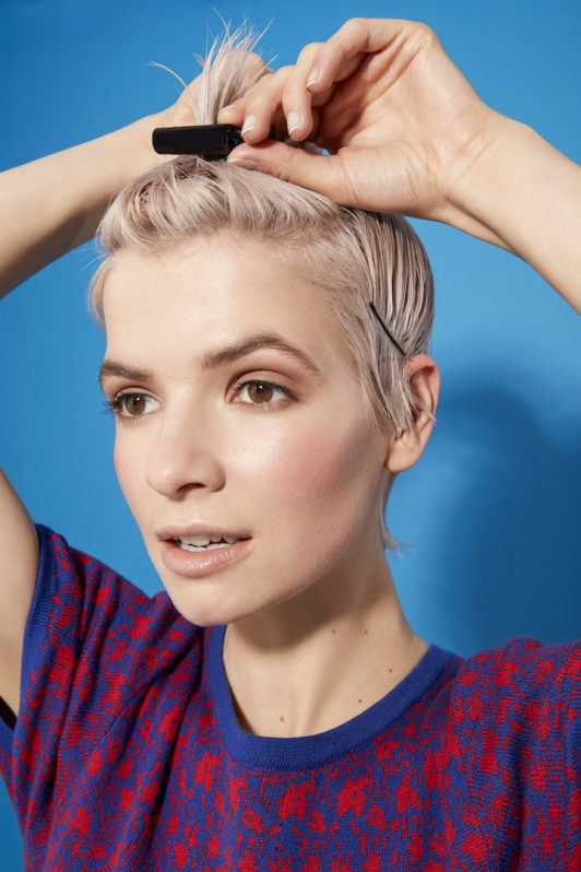 how to blow-dry a pixie cut: section hair