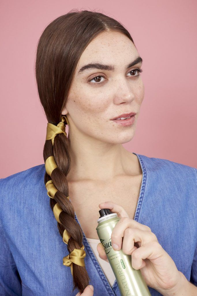 braids with ribbon secure with hairspray