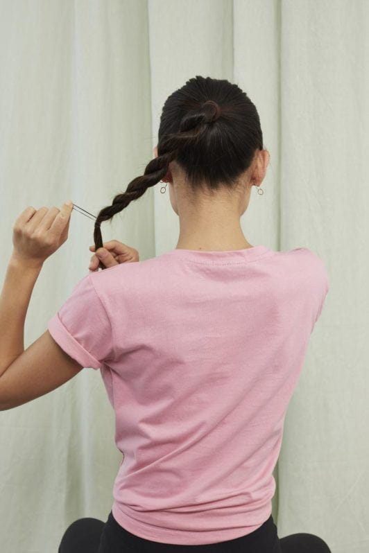 easy ponytail style: secure ends