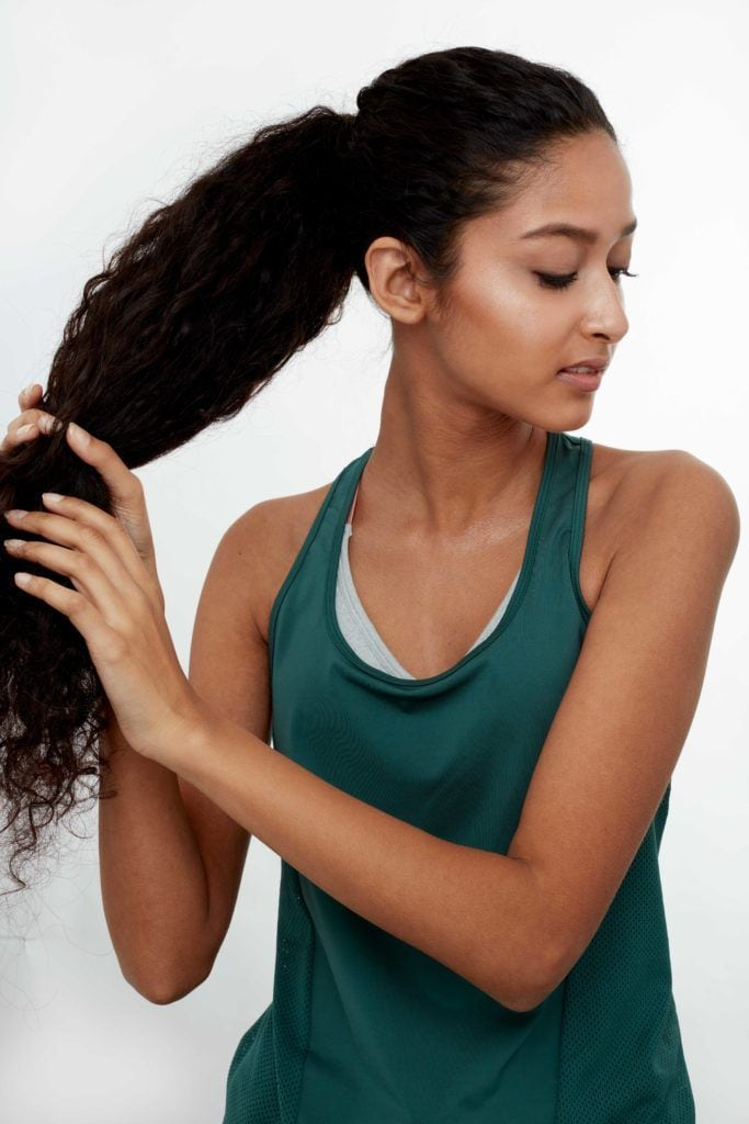 gym hair high ponytail back